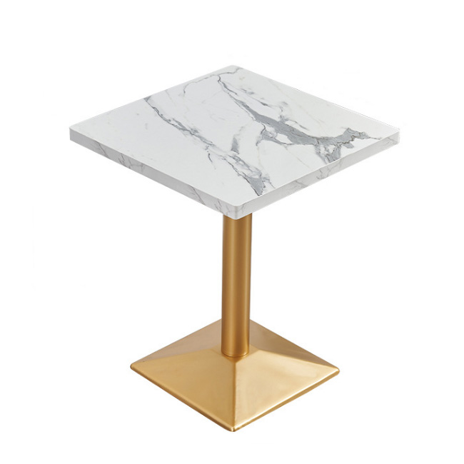 Metal base square dining table