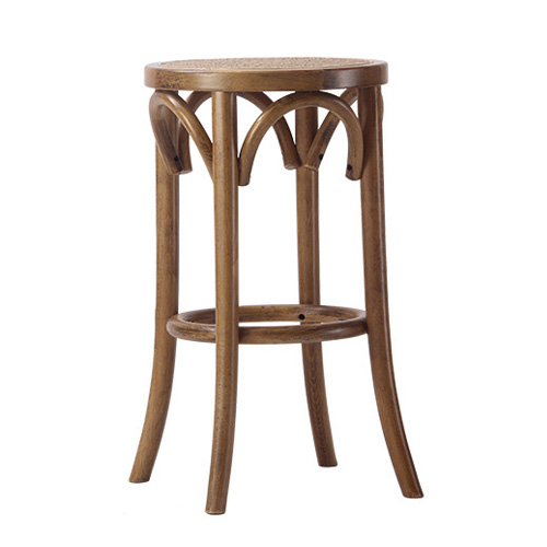 Antique wood stool with rattan seat