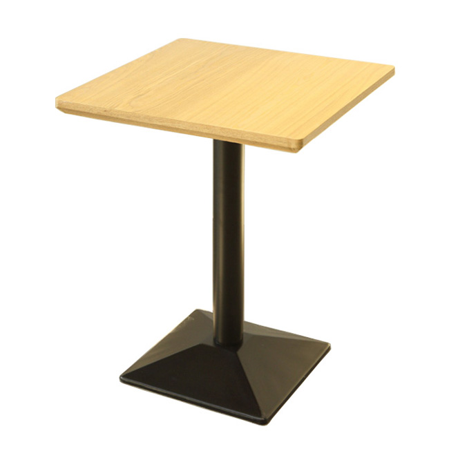 Square iron base black restaurant table