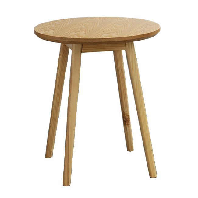 Round solid wood cafe restaurant table