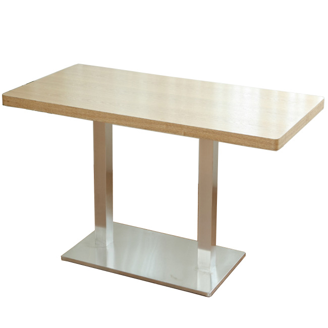 Metal base wood top restaurant dining table