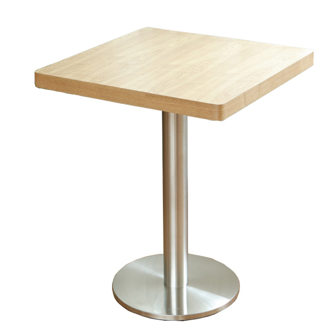 Metal base wood top square restaurant dining table