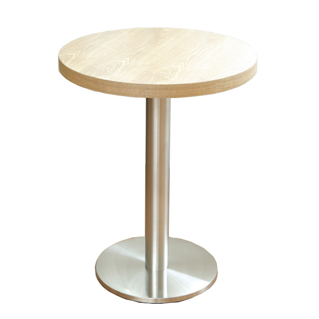 Metal base wood top round restaurant dining table