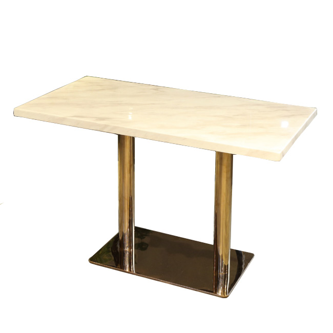 Rectangular metal base dining table with marble top