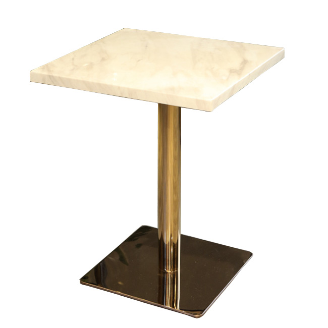 Square metal base dining table with marble top