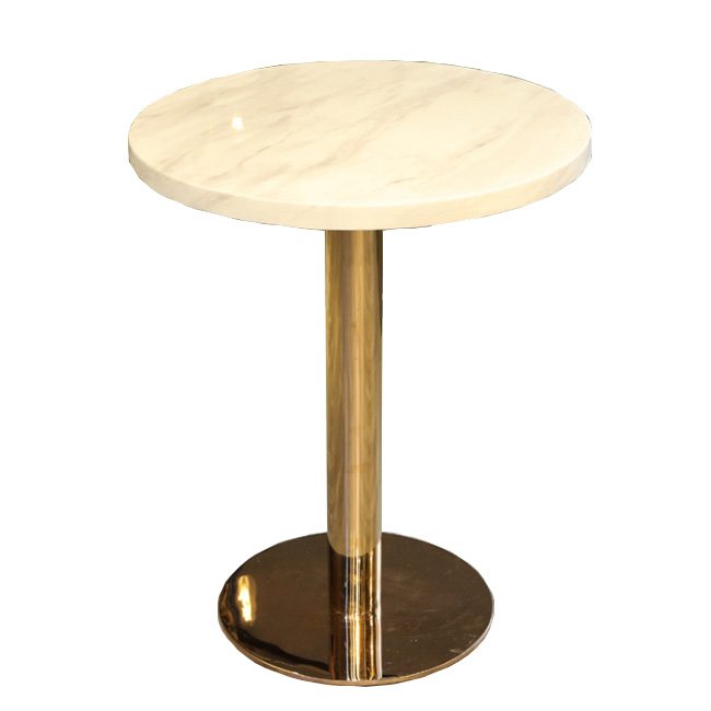 Round metal base dining table with marble top