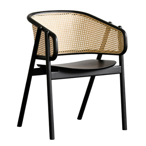 Rattan arm chair solid wood chair pierre jeanneret cane woven chair