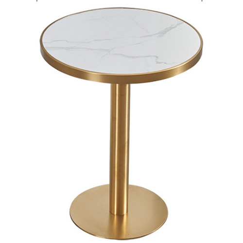 Small round marble top stainless steel restaurant cafe dining table