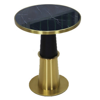 Modern round marble top stainless steel restaurant cafe dining table