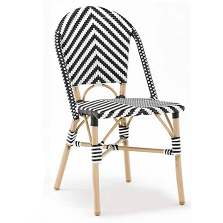 Bamboo looking Bistro Outdoor Dining Cafe Garden Use For Balcony French style aluminum stackabe wicker rattan Chair