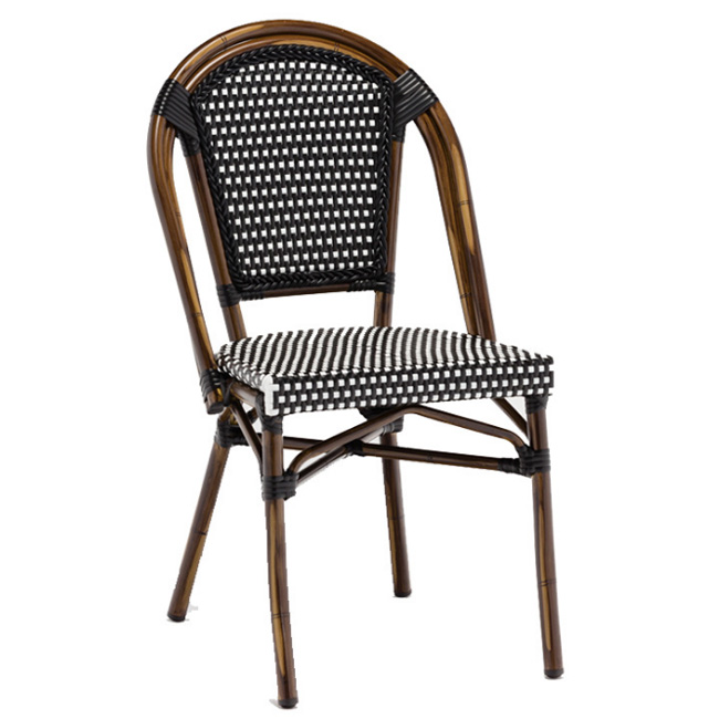 Patio wicker furniture aluminum french rattan bistro garden dining restaurant outdoor chair