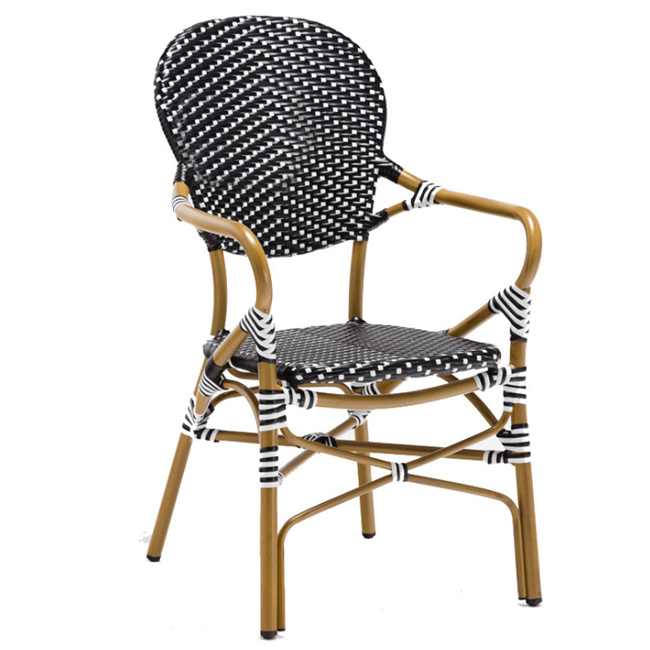 Customized resistant aluminum woven french restaurant outdoor cafe chair