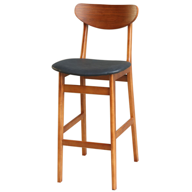 Cambered Backrest Wood Barstool