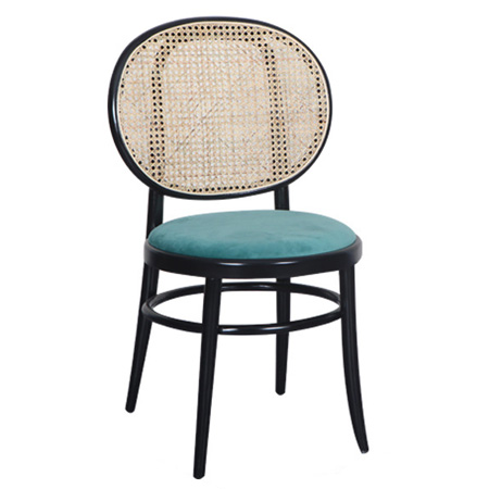 Solid wood rattan hotel restaurant cafe dining chair
