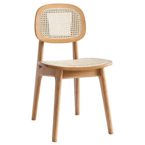 China factory supply solid wood restaurant dining chair with real rattan seat and back
