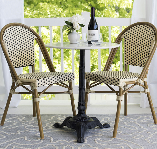 Rattan outdoor chair france bistro cafe wicker chair ...